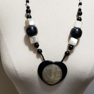 Mother Of Pearl & Black Heart Necklace.